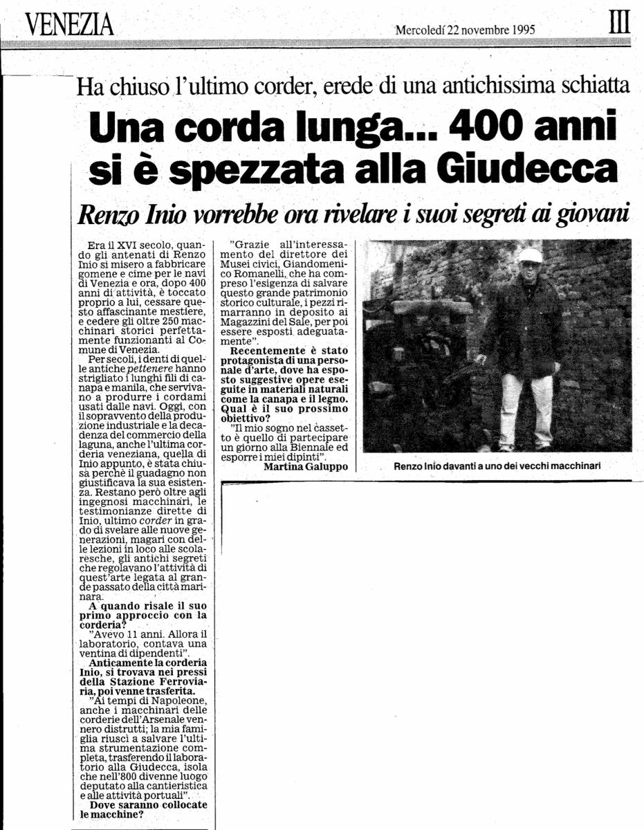 Renzo Inio: l'ultimo corder.
