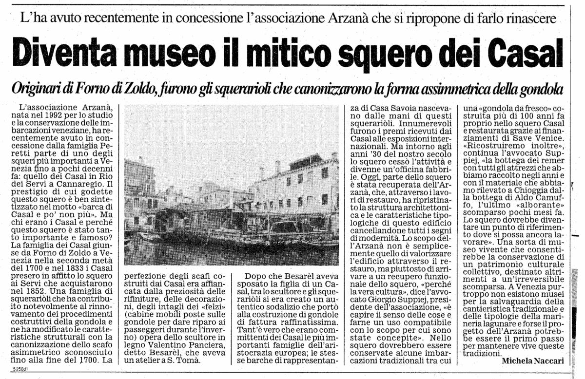 L'antico Squero dei Casal diventa sede Museale dell'Associazione Arzanà